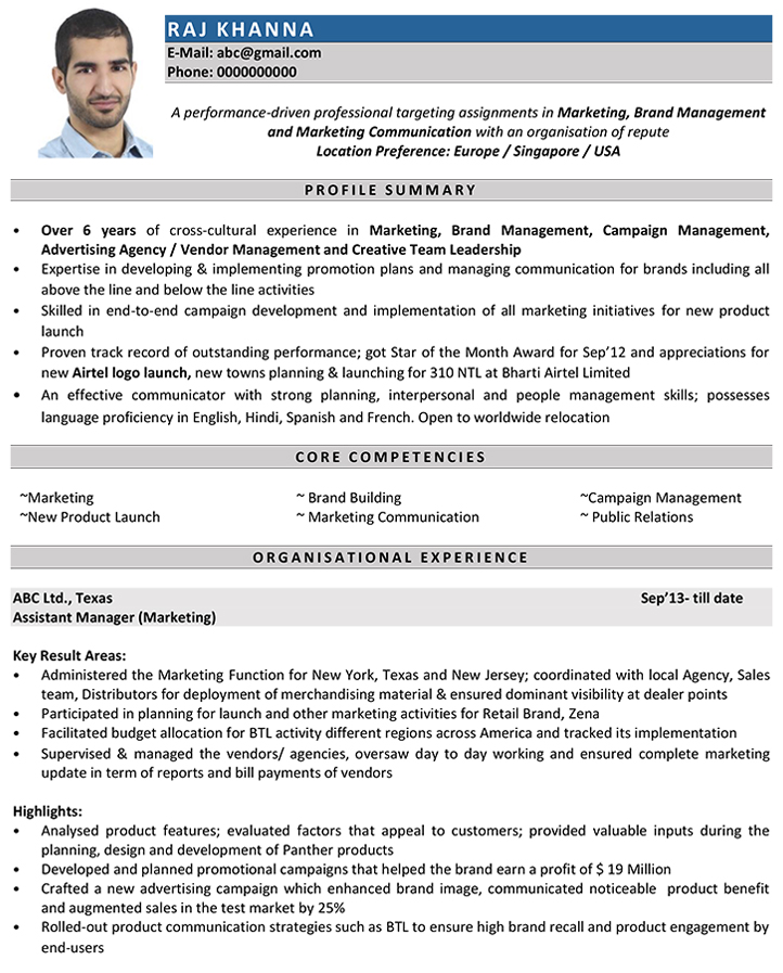 marketing manager cv samples - Resume Sample For Marketing Manager