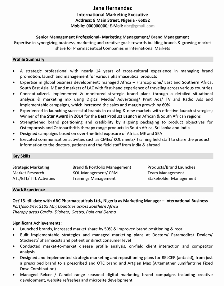resume format for sales and marketing