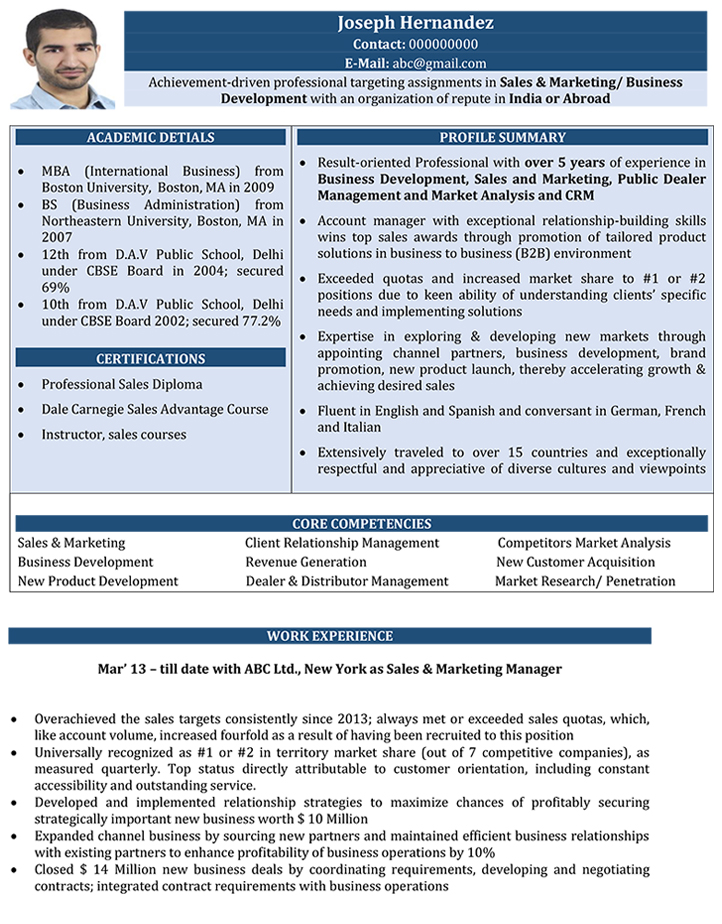 sales and marketing cv format  u2013 sales and marketing resume